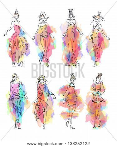Fashion Model collection hand drawn vector set
