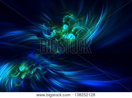 blue green haze feather fractal background. Cover design template layout for corporate business card book booklet brochure flyer poster banner. Fractal artwork for creative design.
