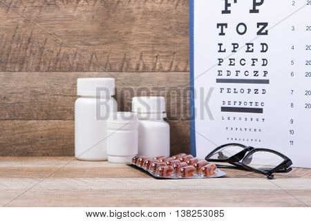 Healthy eyes. Eye chart and medicine on wood background