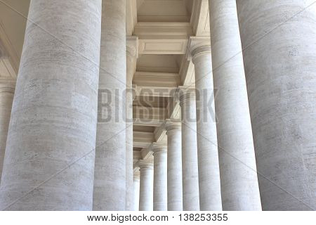 Colonnades of St. Peter's Square in Vatican City. Rome, Italy.