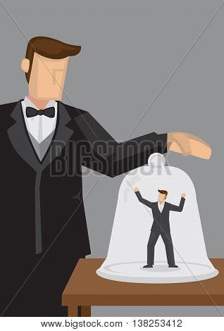 Helpless businessman trapped inside transparent glass jar by employer. Creative vector cartoon illustration on metaphor of feeling trapped by job.