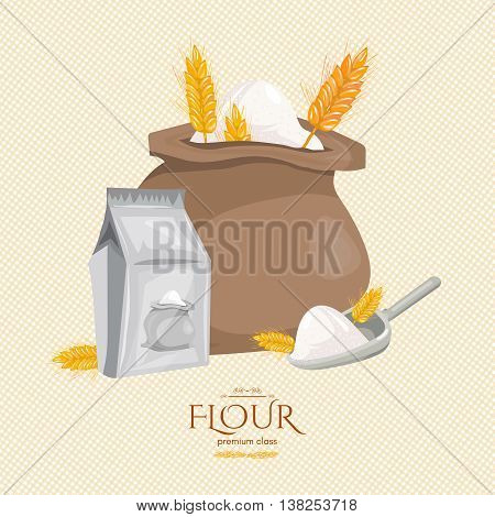 Bag of flour ears of wheat ingredients for baking cartoon vector