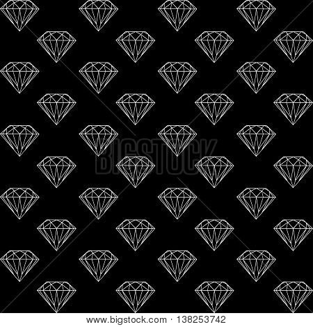 vector seamless pattern with diamonds, black and white pattern with brilliants