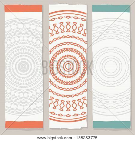 vertical ethnic banners, three vector banners in tribal style
