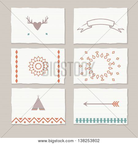 ethnic cards with tribal motifs, vector tag cards