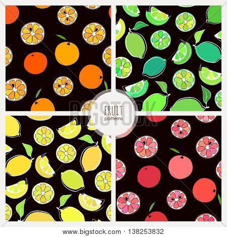 four vector seamless patterns with citrus fruits