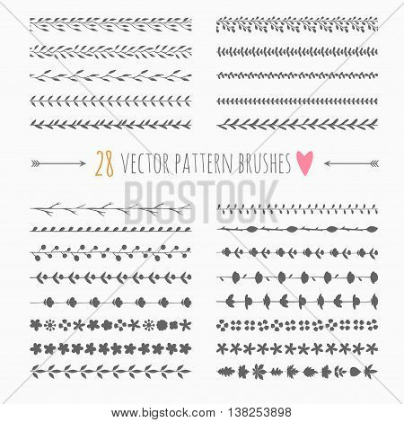 set of vector floral seamless brushes and borders, rustic decorations