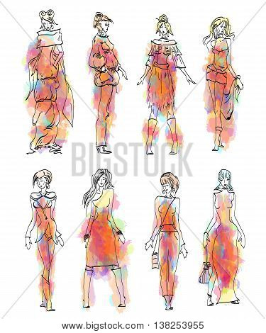 Fashion Model collection fashion woman set vector