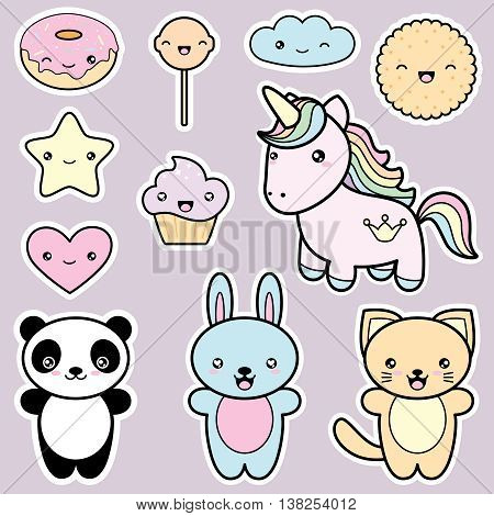 Set collection of cute kawaii style labels. Decorative design elements in doodle Japanese style isolated on grey background. Vector illustration.