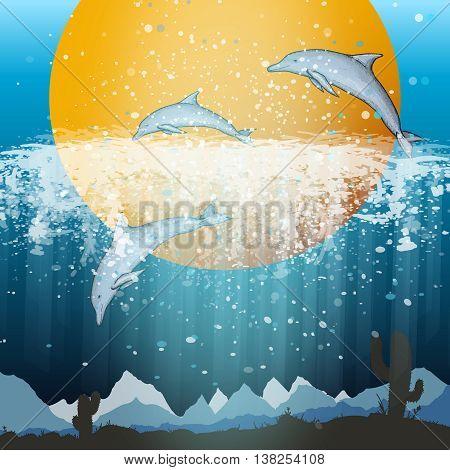 Dolphins jumping vector cartoon set vector summer