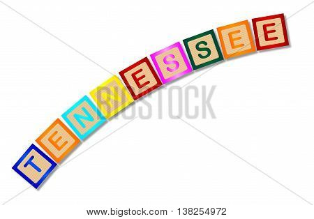 A collection of wooden block letters spelling Tennessee over a white background