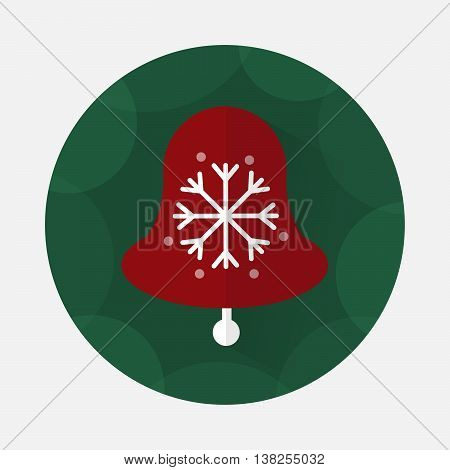 Christmas bell flat icon with long shadow