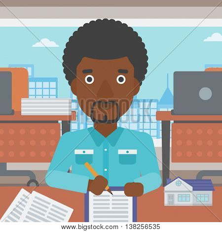 An african-american male real estate agent signing a contract. Young real estate agent sitting at workplace in office with a house model on the table. Vector flat design illustration. Square layout.