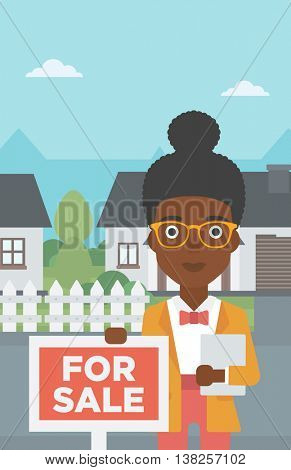 An african-american real estate agent offering the house. Female broker with placard for sale and documents in hands standing in front of the house. Vector flat design illustration. Vertical layout.