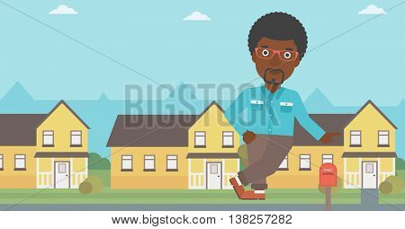 An african-american real estate agent standing near the house. Real estate agent leaning on the house. Real estate agent offering house. Vector flat design illustration. Horizontal layout.