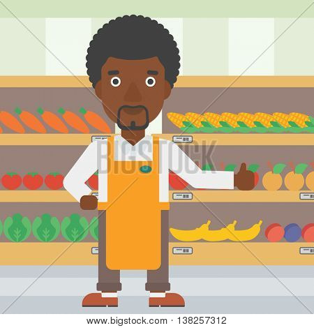 An african-american male supermarket worker showing thumb up on the background of shelves with vegetables and fruits in supermarket. Vector flat design illustration. Square layout.