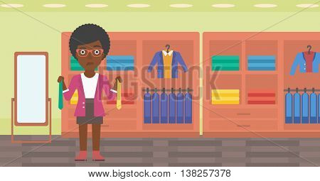 Thoughtful woman holding two neckties and trying to choose the best one. An african-american female customer choosing necktie at clothing store. Vector flat design illustration. Horizontal layout.
