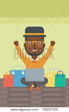 An african-american man with hands up using laptop for shopping online. Customer sitting with shopping bags around him. Man doing online shopping. Vector flat design illustration. Vertical layout.