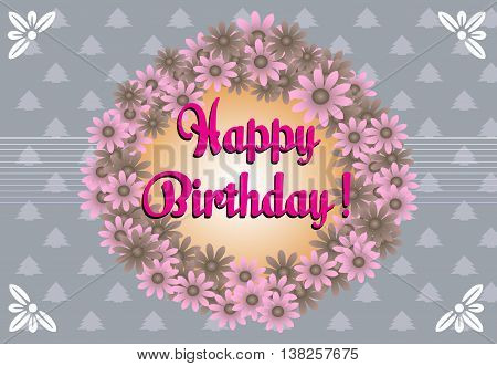 Birthday greeting with flower frame and the text Happy Birthday written with pink letters