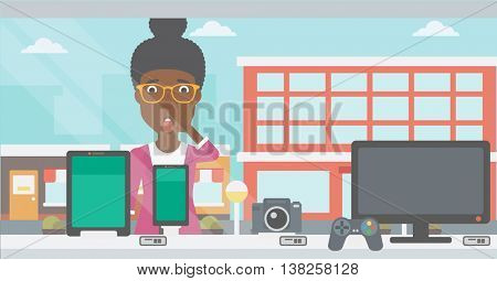 Astonished woman looking at digital tablet and smartphone through shop window. An african-american woman with open mouth looking at tablet and phone. Vector flat design illustration. Horizontal layout