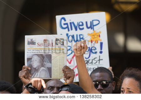 Los Angeles USA - July 12 2016 - Black lives matter protestors during march on City Hall following ruling on LAPD fatal shooting of African American female Redel Jones