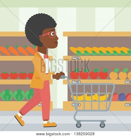 An african-american woman pushing empty supermarket cart. Woman shopping at supermarket with cart. Woman walking with trolley on aisle at supermarket. Vector flat design illustration. Square layout.