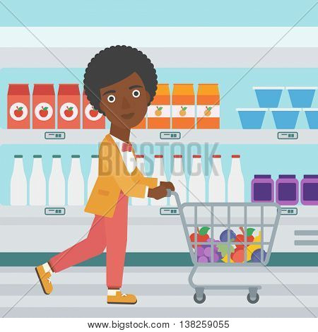 An african-american young woman pushing a supermarket cart with some goods in it. Customer shopping at supermarket with cart full with groceries. Vector flat design illustration. Square layout.