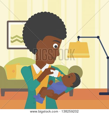 An african-american young mother feeding baby boy with a milk bottle. Mother feeding newborn baby at home. Baby boy drinking milk from bottle. Vector flat design illustration. Square layout.
