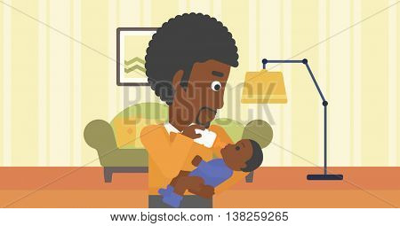 An african-american father feeding baby with a milk bottle. Father feeding newborn baby at home. Baby boy drinking milk from bottle. Vector flat design illustration. Horizontal layout.