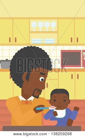 An african-american father feeding baby at home. Young father teaching baby to eat with spoon. Father spoon-feeding her baby at kitchen. Vector flat design illustration. Vertical layout.