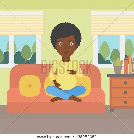 An african-american pregnant woman holding her hands on belly. Young pregnant woman sitting on a sofa at home. Vector flat design illustration. Square layout.