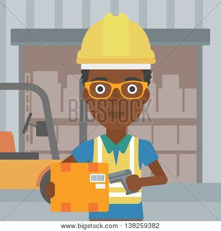 An african-american warehouse worker scanning barcode on box. Warehouse worker checking barcode of box with a scanner. Woman in hard hat with scanner. Vector flat design illustration. Square layout.