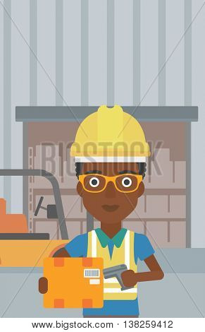 African-american warehouse worker scanning barcode on box. Warehouse worker checking barcode of box with a scanner. Woman in hard hat with scanner. Vector flat design illustration. Vertical layout.