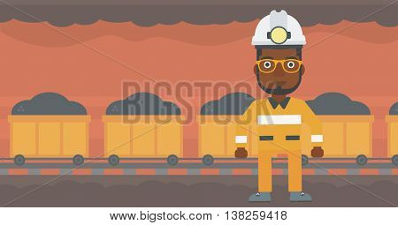 African-american confident coal miner. Male miner in hardhat with torch. Miner standing on the background of mining tunnel with cart full of coal. Vector flat design illustration. Horizontal layout.