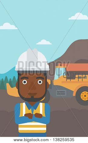 An african-american confident coal miner. A miner standing in front of a big mining equipment on the background of coal mine. Vector flat design illustration. Vertical layout.