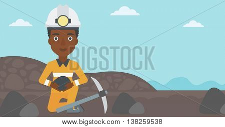 An african-american female miner in hard hat sitting with coal in hands and a pickaxe on the background of coal mine. Vector flat design illustration. Horizontal layout.