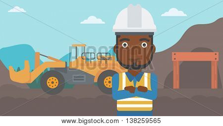 An african-american confident coal miner. A miner standing in front of a big mining equipment on the background of coal mine. Vector flat design illustration. Horizontal layout.