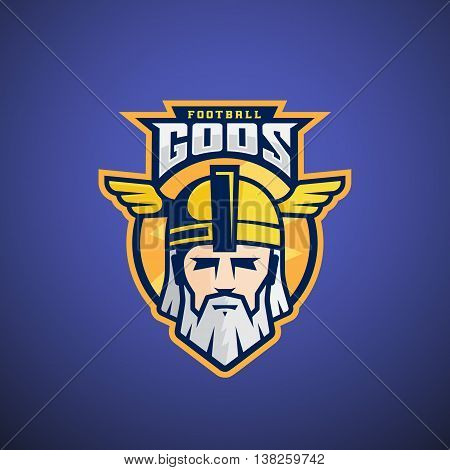 Football Gods Vector Sport Team or League Logo Template. Odin Face with Typography. Mighty Warrior Head in a Helmet Mascot. On Dark Blue Background.