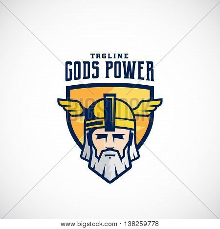 Gods Power Vector Sport Team or League Logo Template. Odin Face in a Shield, with Typography. Mighty Warrior Head in Helmet Mascot. Isolated.