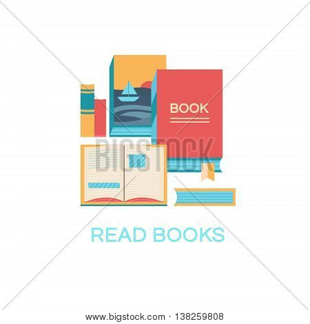 Vector illustration of books. Banner book club. Collection of elements for design. Set of icons. Background for banners, invitation cards, web pages, covers, posters. Flat style.