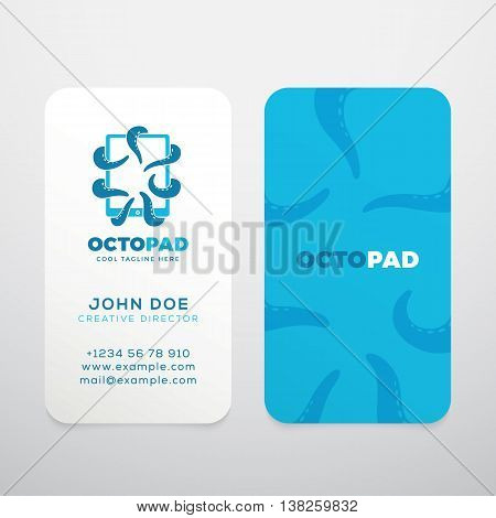 Abstract Vector Logo with Business Card Template or Mock-up. Octopus Tentacles Holding a Touchscreen Tablet. Modern Typography and Realistic Soft Shadows. Isolated.