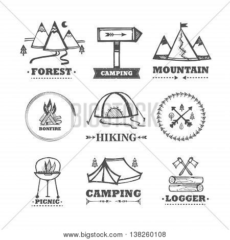 Vector set of logos camping and outdoor recreation. Collection of vintage logos, badges, labels camping. Set of equipment for camping. Set of vector elements for a picnic. Vintage template for design.