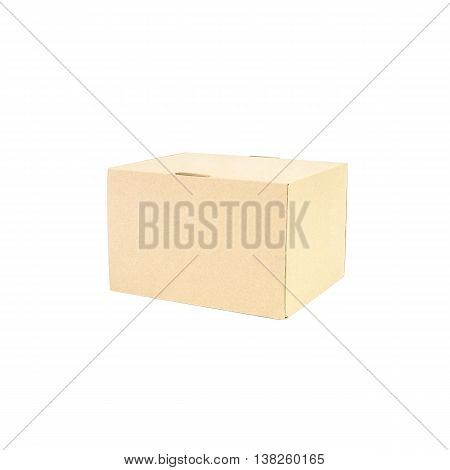 Closeup brown paper box isolated on white background