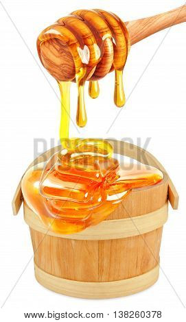 honey dripping in a bucket isolated on white background