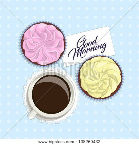 Romantic vintage postcard in delicate colors with inscription, top view. Cup of coffee on napkin, yellow and pink cake with cream, with inscription card on blue tablecloth with polka dots, vector
