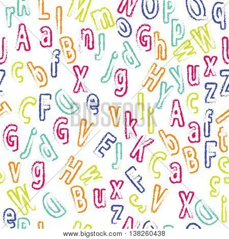 Cute cartoon alphabetic letters seamless pattern in retro style. Pattern can be used for scrap booking, posters, school projects.