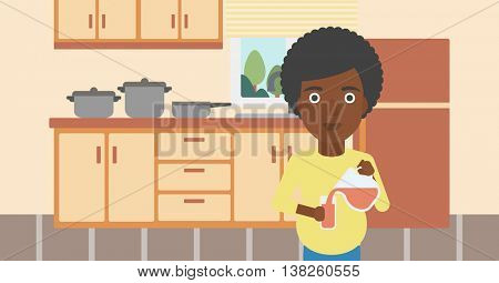 An african-american pregnant woman pouring juice in glass. Pregnant woman drinking juice. Concept of healthy nutrition during pregnancy. Vector flat design illustration. Horizontal layout.