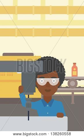 An african-american woman working on milling machine at workshop. Woman using milling machine at factory. Woman making a hole using a milling machine. Vector flat design illustration. Vertical layout.