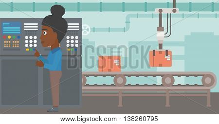 African-american woman working on control panel. Woman pressing button at control panel in plant. Engineer standing in front of the control panel. Vector flat design illustration. Horizontal layout.