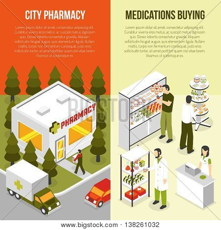 Pharmacy drugstore 2 vertical isometric banners set with apothecary attending customers and ambulance service isolated vector illustration